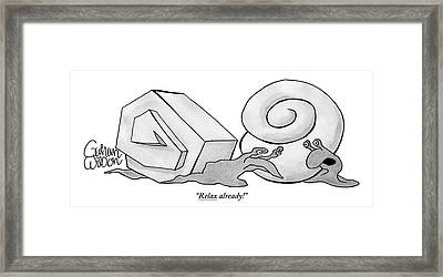 Two Snails Are Talking. One Has A Smooth Round Framed Print by Gahan Wilson