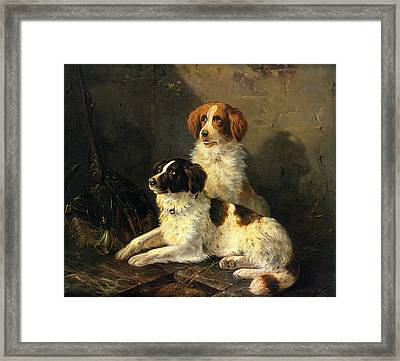 Two Spaniels Waiting For The Hunt Framed Print by Henriette Ronner Knip