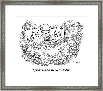Two Squirrels Sitting In Armchairs Are Surrounded Framed Print by Robert Leighton