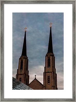 Two Steeples Three Crosses Framed Print by Gene Sherrill