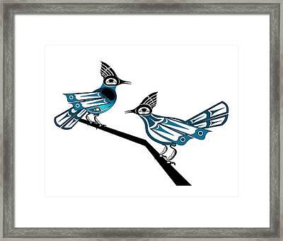 Two Stellar Jays Framed Print by Fred Croydon
