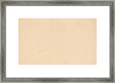 Two Studies Of A Reclining Woman Framed Print by Gustav Klimt