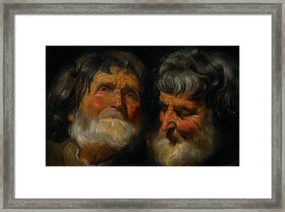 Two Studies Of The Head Of An Old Man Framed Print by Jacob Jordaens