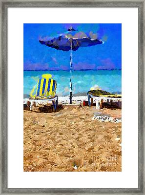 Two Sun-chairs And Umbrella Painting Framed Print by Magomed Magomedagaev