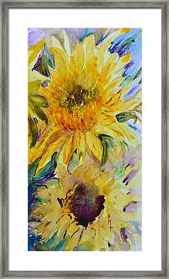Two Sunflowers Framed Print by Beverley Harper Tinsley