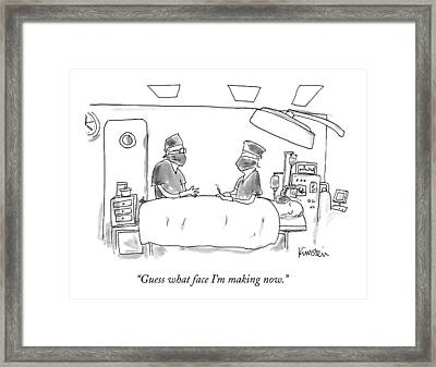 Two Surgeons In A Operating Masks Talk Framed Print