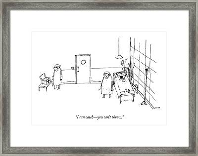 Two Surgeons Speak To Each Other In An Operating Framed Print by Edward Steed