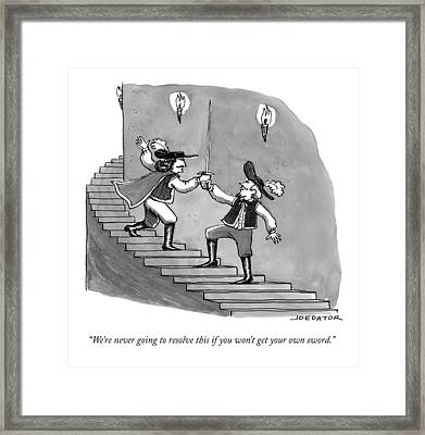 Two Swordfighters On A Staircase Grasp The Handle Framed Print by Joe Dator