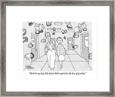 Two Teachers Walking Down The Hall While Students Framed Print by Gahan Wilson