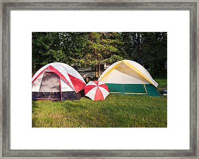 Two Tents And Umbrella Framed Print by Marek Poplawski