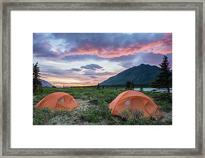 Two Tents At A Backcountry Campsite Framed Print by Carl Johnson