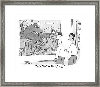Two Tired Businessmen Look Out The Window Framed Print