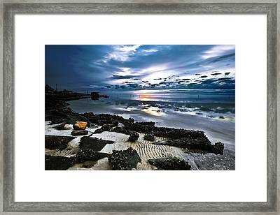 Framed Print featuring the photograph Two Tone Sunset-blue Sky Sea Reflection-splash Of Color by Eszra
