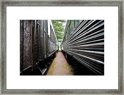 Framed Print featuring the photograph Two Trains by Crystal Hoeveler