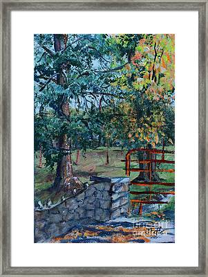 Two Trees And A Gate Framed Print