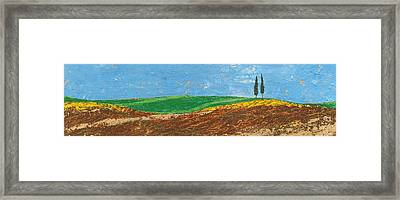 Two Trees, Rolling Hills, Tuscany, 2005 Oil On Paper Framed Print