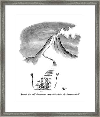 Two Tribesmen With Feather Headdresses Sit Framed Print