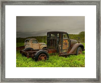 Two Trucks Framed Print