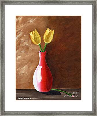 Framed Print featuring the painting Two Tulips And A Pink Rose by Laura Forde