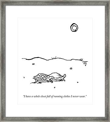 Two Turtles Crawling Across A Barren Landscape Framed Print