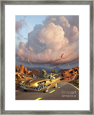 Two Velociraptors In Their Scary Car Framed Print by Jerry LoFaro