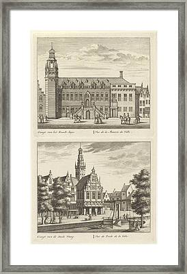 Two Views In Alkmaar With The City Hall And De Waag Framed Print by Leonard Schenk And Abraham Rademaker