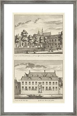 Two Views In Alkmaar With The Orphanage And The St Framed Print by Leonard Schenk And Abraham Rademaker