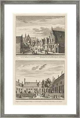 Two Views In Alkmaar With The Plague House And St Elisabeth Framed Print by Leonard Schenk And Abraham Rademaker