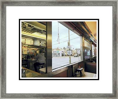 Two Views Inside The Orchid Diner Framed Print by Kathy Barney
