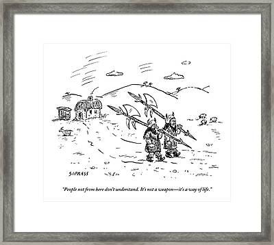 Two Viking-esque Guys Are Walking Down A Path Framed Print by David Sipress