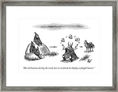Two Visigoths Watch A Visigoth Soldier Juggles Framed Print