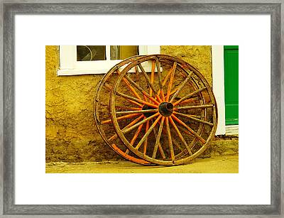 Two Wagon Wheels Framed Print
