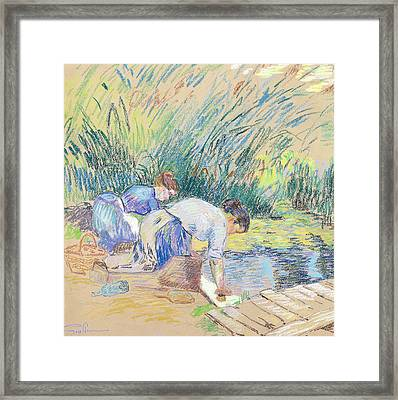Two Washerwomen Framed Print by Jean Baptiste Armand Guillaumin