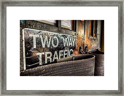 Two Way Traffic Framed Print by Sennie Pierson