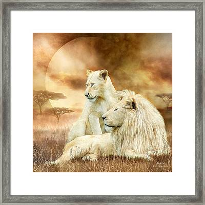 Two White Lions - Together Framed Print by Carol Cavalaris