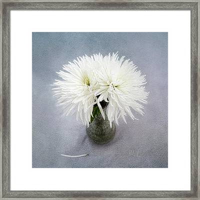 Two White Mums In Green Vase Still Life Framed Print