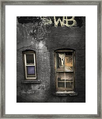 Two Windows Old And New - Old Building In New York Chinatown Framed Print
