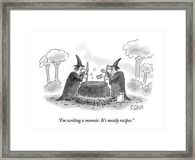 Two Witches Speak As One Throws A Frog Framed Print