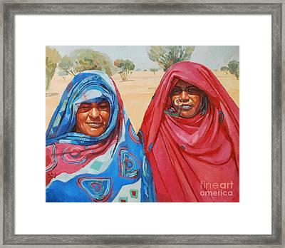 Two Women 2 Framed Print by Mohamed Fadul