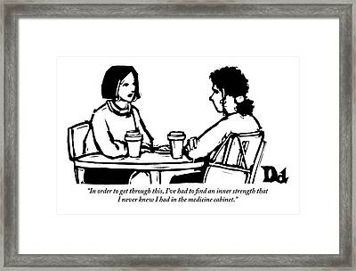 Two Women Are Seen Sitting And Speaking With Each Framed Print