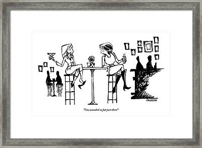 Two Women Drink Cocktails At A High Table Framed Print by Corey Pandolph