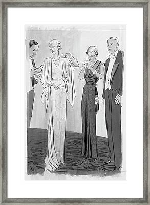 Two Women In Evening Gowns With Older Men Framed Print by Eduardo Garcia Benito