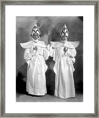 Two Women In Matching Costumes Framed Print by Fred Hartsook