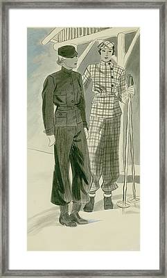 Two Women In Ski Outfits Framed Print