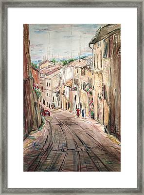 Framed Print featuring the painting Two Women On The Street by Becky Kim