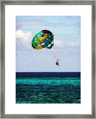 Two Women Parasailing In The Bahamas Framed Print by Susan Savad
