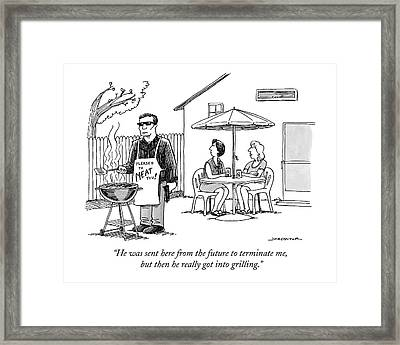 He Was Sent Here From The Future To Terminate Me Framed Print
