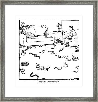 Two Women Sit Together In A Living Room: One Framed Print by Matthew Diffee