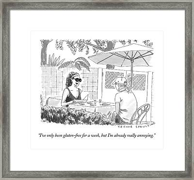 Two Women Speak At A Cafe Speak Framed Print