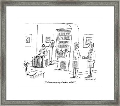 Two Women Talk While A Man Sits With A Blank Framed Print by Mick Stevens